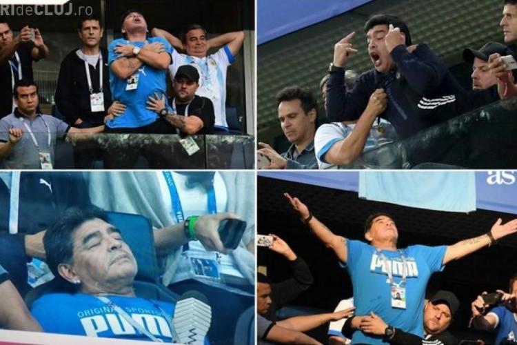 Maradona, dus pe pe braţe din tribună, după meciul Argentina - Nigeria