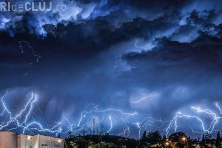 Cod GALBEN de furtuni şi grindină în Cluj. Ce zone sunt vizate