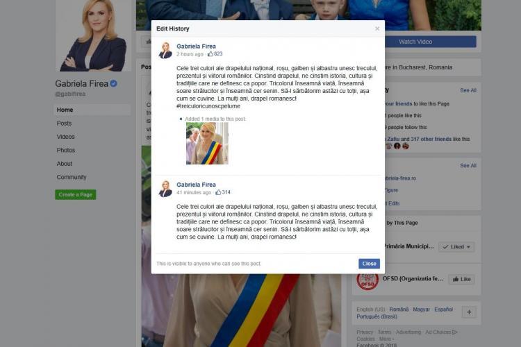 Gabriela Firea, mesaj de Ziua Drapelului cu #treiculoricunoscpelume, vers din imnul României comuniste