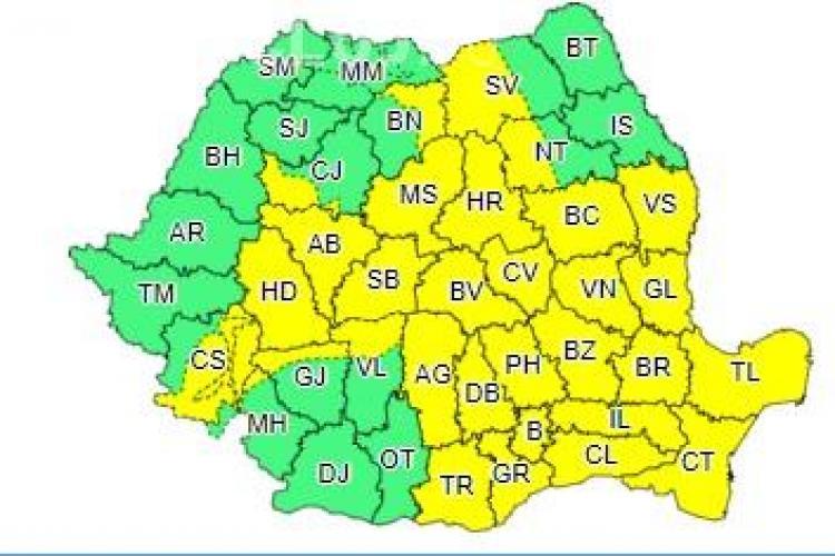 Cod galben de ploi în mai multe județe din țară. Clujul este afectat