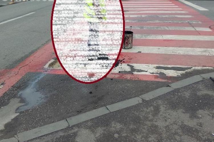 """Cum se repară gropile la Cluj! Un muncitor sărea cu picioarele pe asfaltul proaspăt: """"Parcă era Dr. Alban"""" FOTO"""