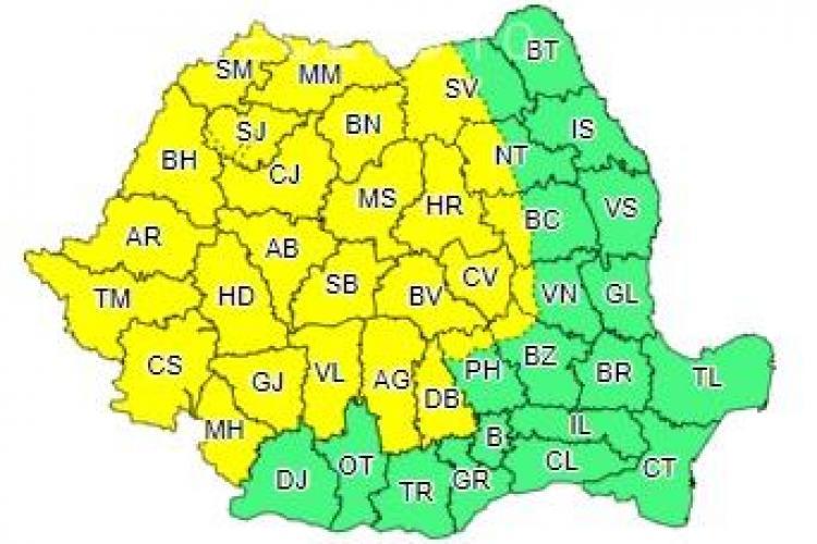 Cod galben de ploi în aproape toată țara, în prima zi a lunii august