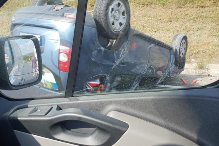 Mașină răsturnată între Vâlcele și Feleacu - FOTO