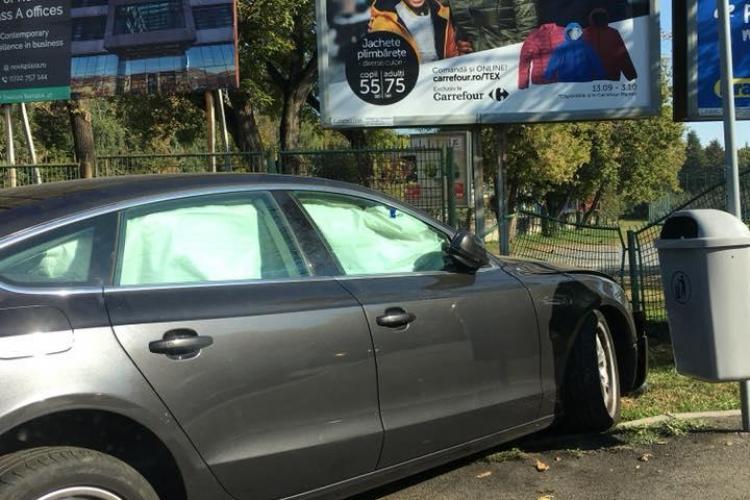 Accident în sensul giratoriu de la Cora. A reușit să rateze ieșirea - FOTO