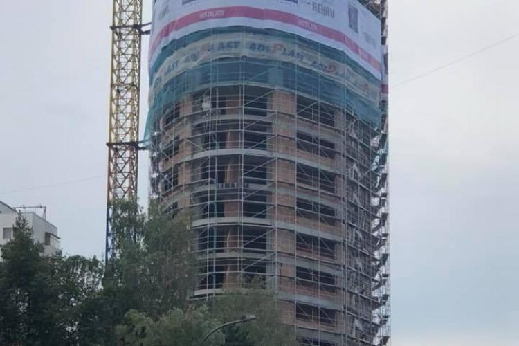 Imagini din cel mai înalt bloc din Cluj-Napoca. Va avea 25 de etaje - FOTO