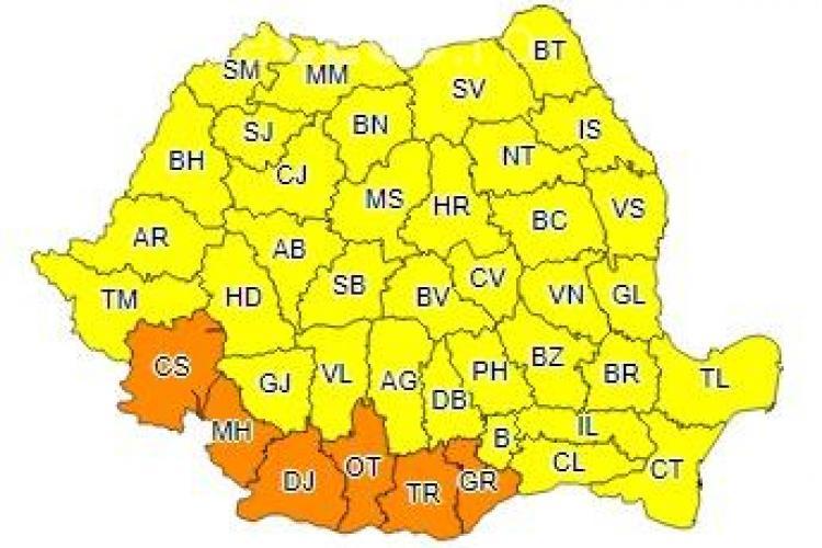 Cod galben de vijelii în aproape toată țara! Ce anunță ANM