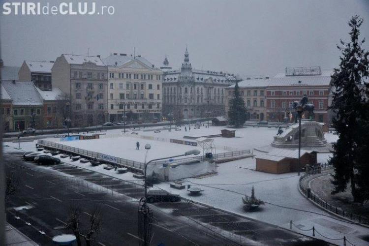 Prima ninsoare din Cluj-Napoca, în 2018. Vremea a întors foaia - FOTO