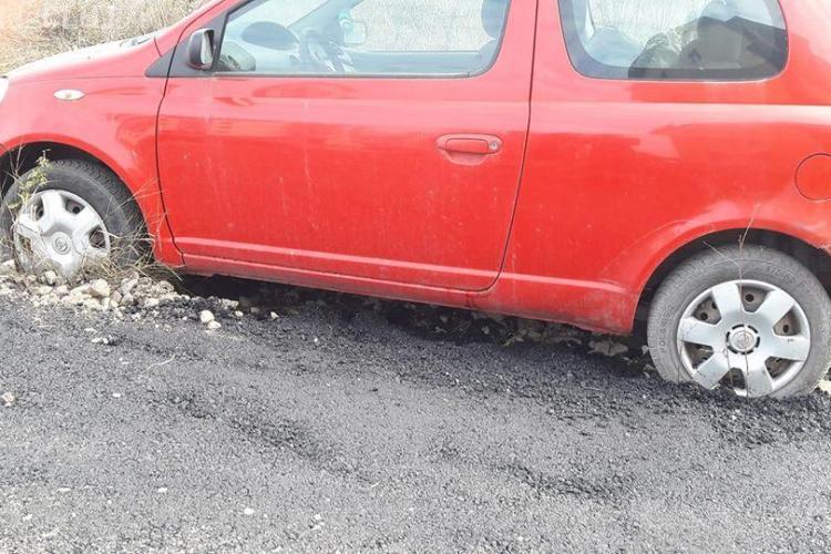 Dorel a asfaltat roțile unei mașini în Florești - FOTO