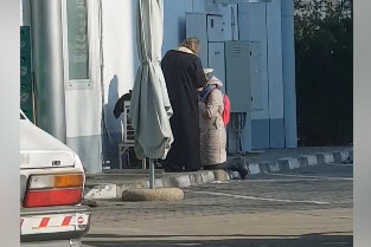 VIDEO -  Femeie spovedită într-o benzinărie din București