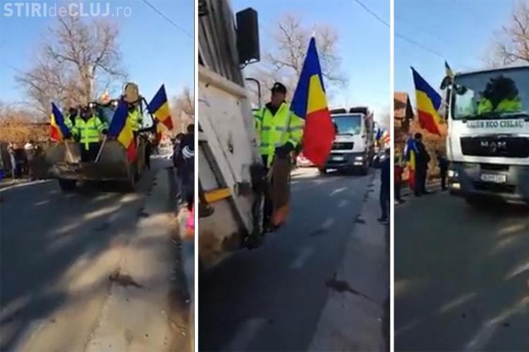Mașini de gunoi la defilarea de 1 Decembrie - VIDEO