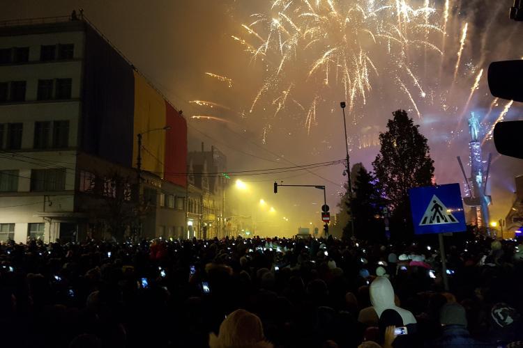 Cum au fost artificiile la Cluj de Ziua Națională a României 2018. Ce surpriză a fost - VIDEO