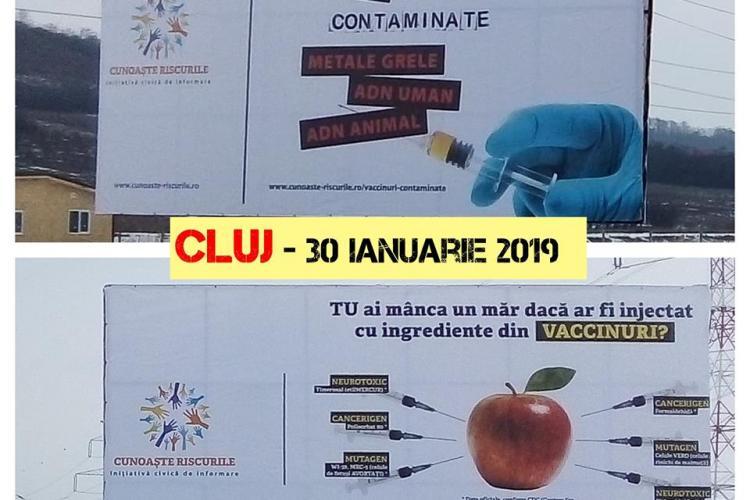 Panouri anti-vaccinare amplasate în Cluj. Mai aduna și donații pentru chirie - FOTO