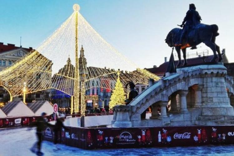 Intrare gratuită la patinoarul din centrul Clujului pe 31 decembrie. Care este programul
