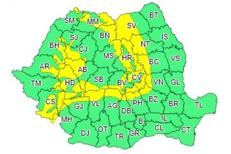 Noi avertismente de tip cod galben de ninsori și vijelii. Afectează și Clujul