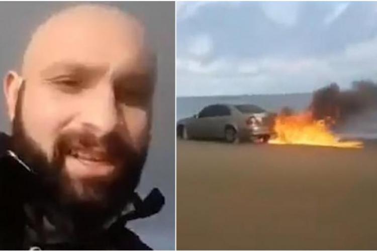 Strugurel Lingurar, un român din Irlanda, și-a da foc Mercedes -ului după un pariu - VIDEO