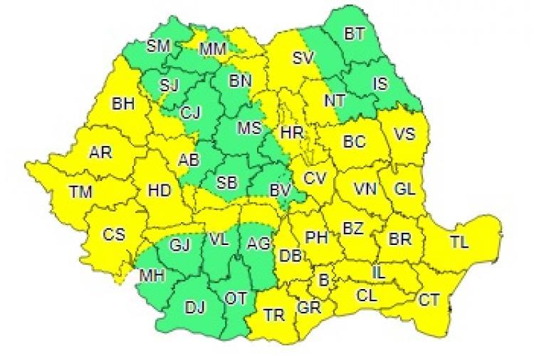 COD GALBEN de vijelii în aproape toată țara. Clujul este afectat
