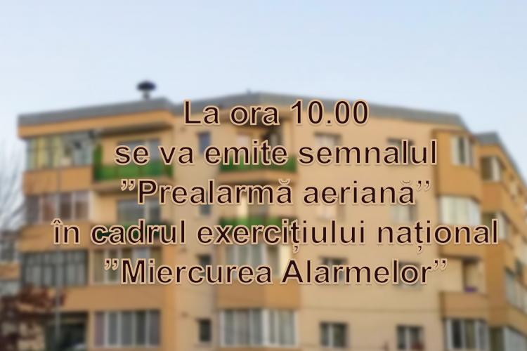 Miercurea alarmelor. De la ora 10.00 la Cluj-Napoca sunt testate alarmele