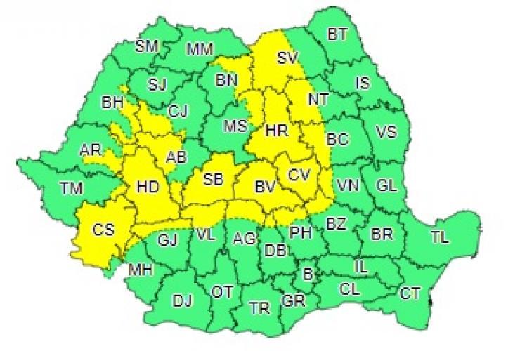 Cod galben de ninsori și lapoviță în mai multe județe din țară. Clujul este afectat