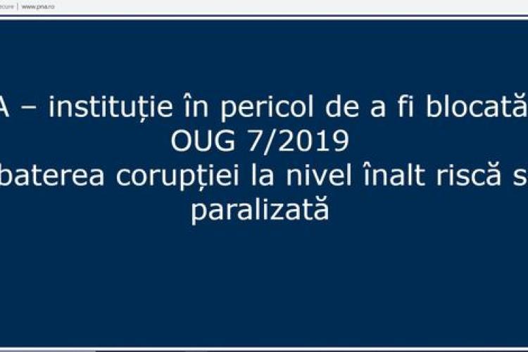 Mesajul DUR afișat pe site-ul DNA: Instituţie în pericol de a fi blocată de OUG 7/2019