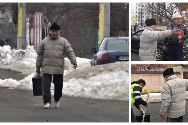 Un bărbat a furat valiza criminalistică a poliţiştilor care erau la un accident - VIDEO