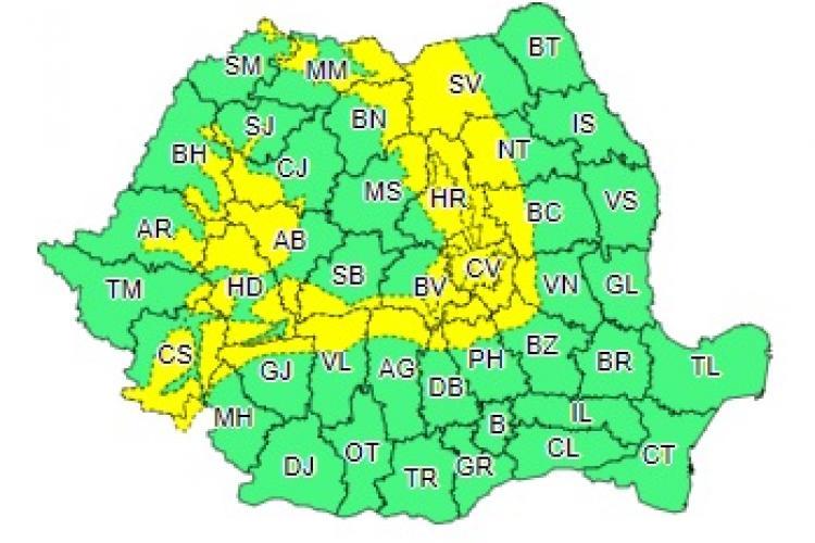 Cod galben de ninsori și vijelie! Județul Cluj este afectat