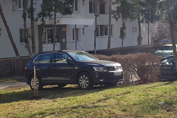 Șofer neamț parcat pe spatiul verde in Gheorgheni - FOTO