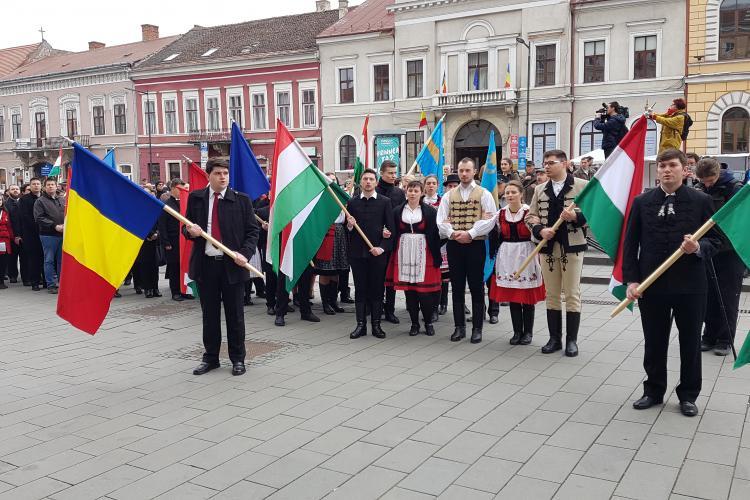 Maghiarii și-au sărbătorit ziua printr-un marș în centrul Clujului - VIDEO