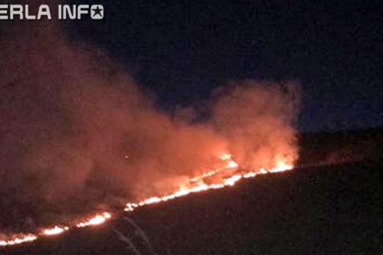 Incendiu masiv pe un deal la ieșire din Gherla FOTO