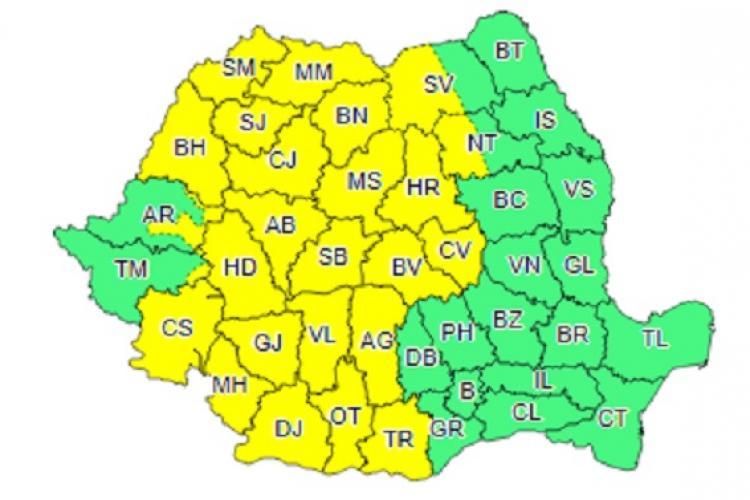 Cod galben de ploi și vreme rece în mai mult de jumătate din țară. Clujul e afectat