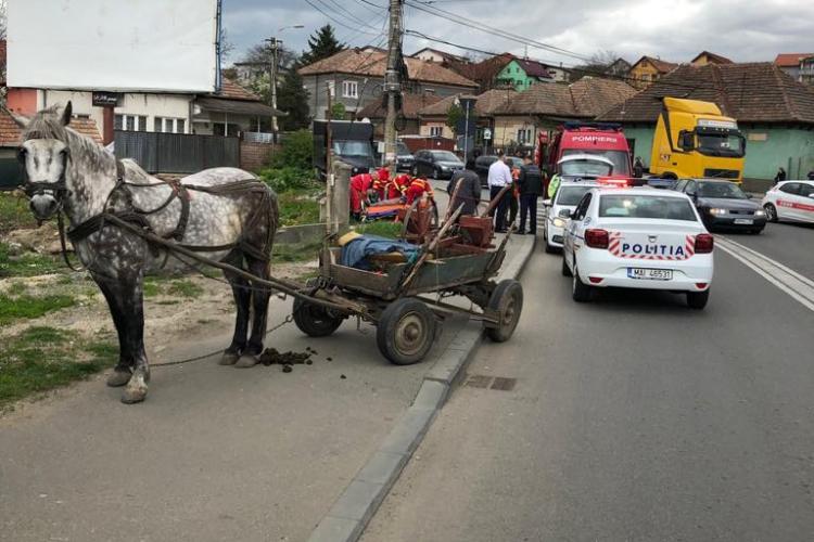 Pieton lovit de căruță pe strada Oașului, în timp ce traversa strada FOTO