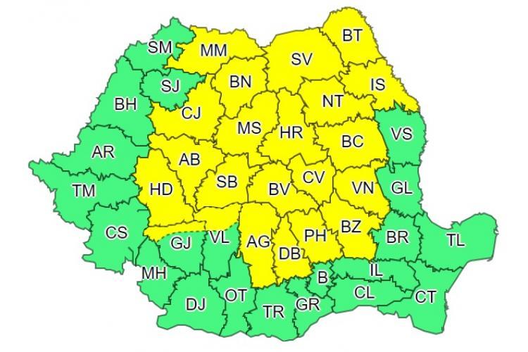 Cod galben de frig și ploi la Cluj și alte 21 de județe. Vezi ce anunță meteorologii