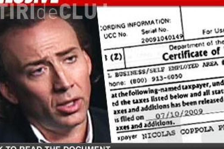 Motivul scandalului facut de Nicolas Cage in Bucuresti: datoriile uriase la stat!