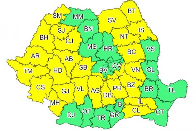 COD GALBEN de ploi pentru zeci de județe din țară, printre care și Clujul. Aversele continuă până vineri