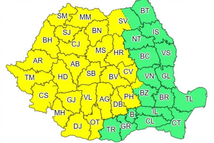 Un nou cod galben de vreme severă în aproape toată țara! Clujul este afectat