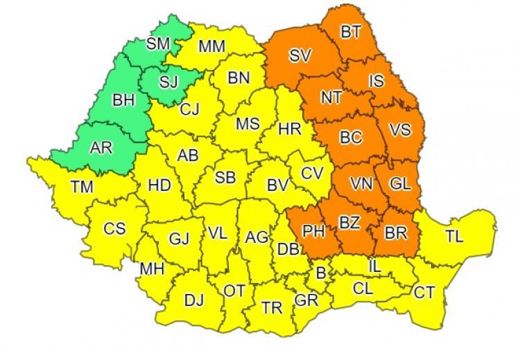 Noi avertismente de ploi și vreme rea în aproape toată țara. Clujul este afectat