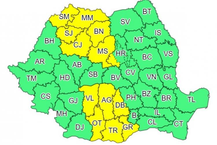 COD GALBEN de averse torențiale în Cluj și alte 12 județe. Ce anunță ANM