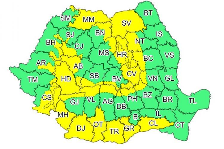 Un nou avertisment de ploi și vijelii. Clujul este afectat