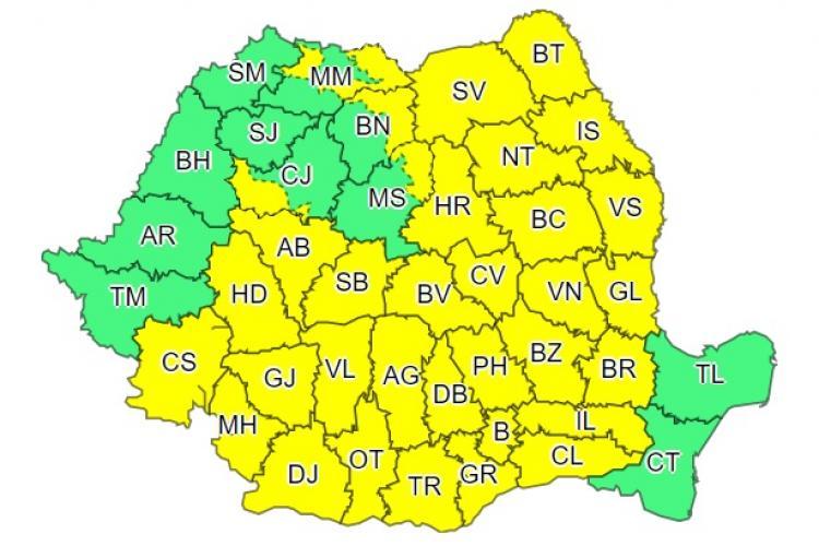 Cod galben de ploi torențiale în aproape toată țara. O parte din județul Cluj este afectat