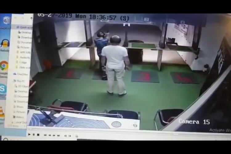 VIDEO ȘOC - MOMENTUL în care un clujean s-a împușcat în cap la poligonul din Florești