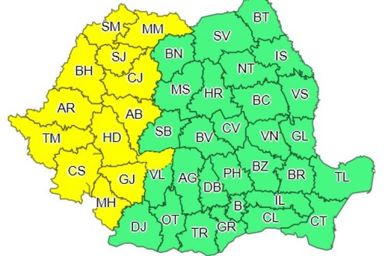 Cod galben de ploi la Cluj și alte 12 județe din țară