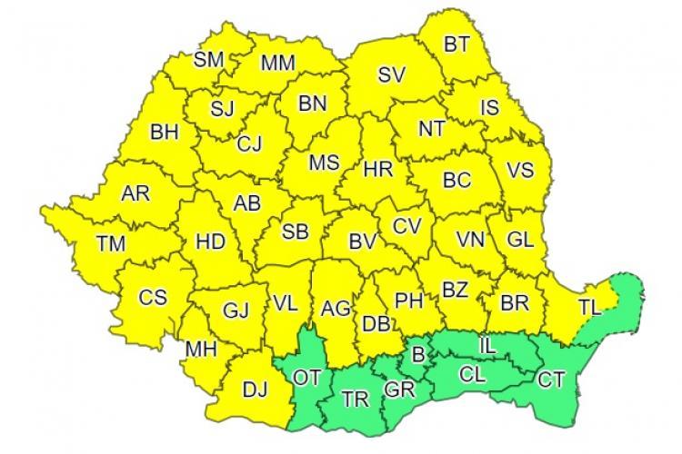 Cod galben de ploi în toată țara. Vremea va fi instabilă până la finalul weekendului