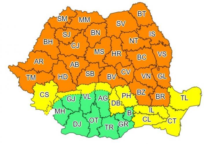 COD PORTOCALIU de furtuni în aproape toată țara! Clujul este afectat