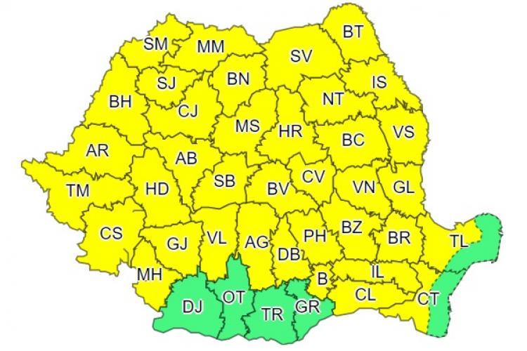 A treia zi consecutivă de ploi torențiale în aproape toată țara! Clujul este afectat