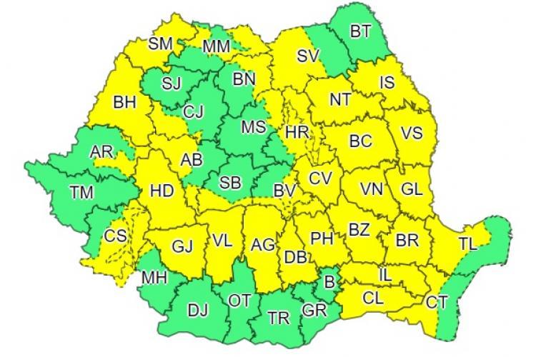 COD GALBEN de furtuni în mai multe județe din țară. Clujul e afectat