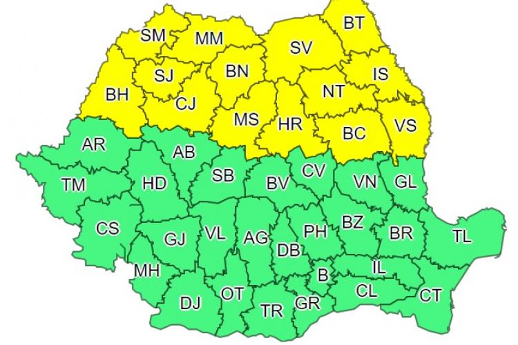 COD GALBEN de caniculă și instabilitate atmosferică în Cluj și alte 13 județe