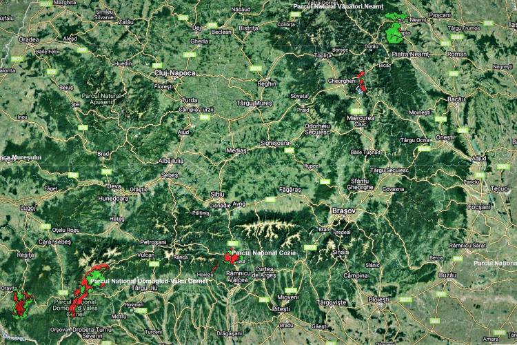 Harta Parcurilor naționale și naturale din România - FOTO