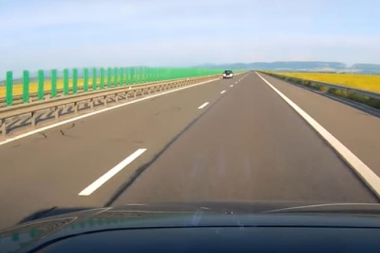 CLUJ: Șoferiță suprinsă conducând pe contrasens pe Autostradă VIDEO