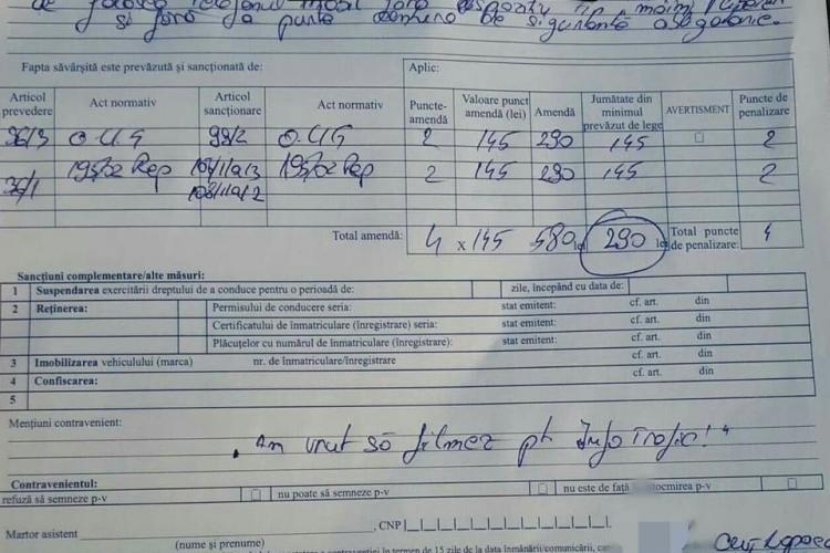 """Clujean amendat de Poliție pentru că filma pentru """"Info trafic"""" - FOTO"""
