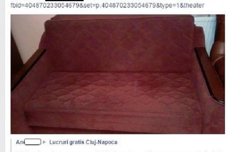 O clujeancă a primit gratis o canapea pe Facebook și o VINDE în FLORESTI / UPDATE: Ce spune femeia acuzată