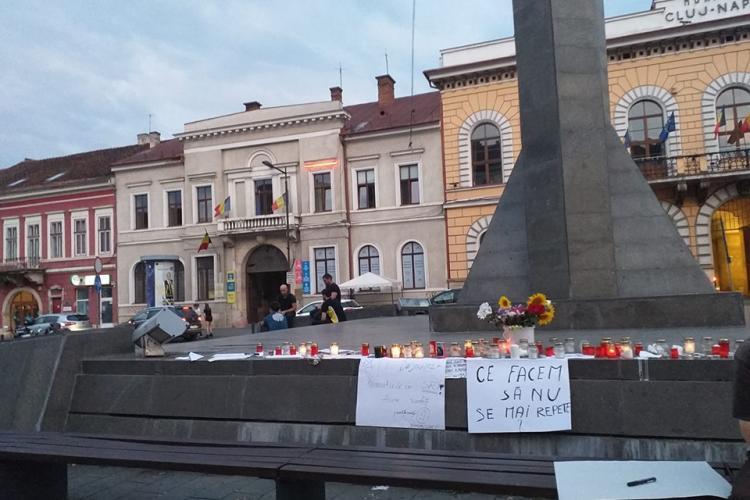 A doua zi de proteste la Cluj, în memoria fetelor ucise la Caracal